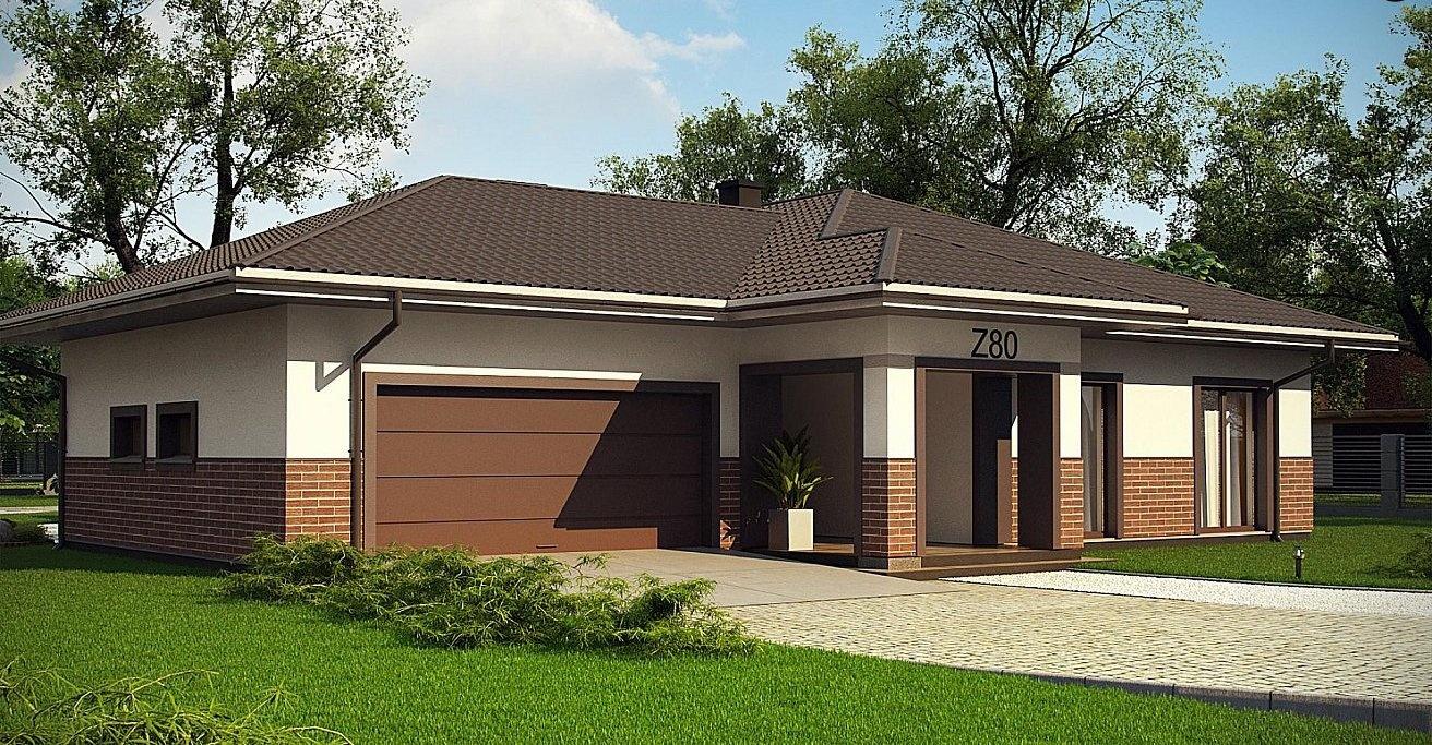Одноэтажный дом с двойным гаражом