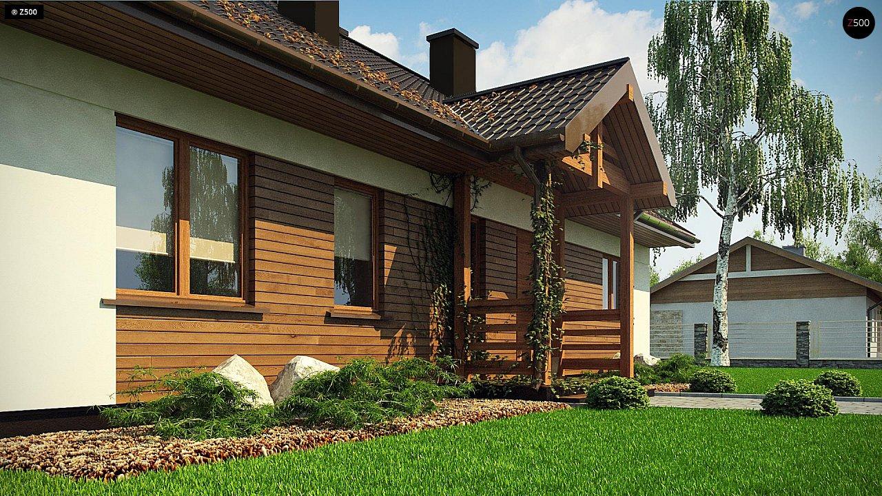 Одноэтажный дом с одним гаражом с отделкой деревом
